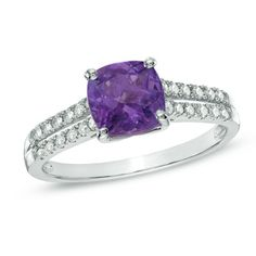 9.0mm Cushion-Cut Amethyst and Lab-Created White Sapphire Ring in Sterling Silver - Size 7  - Peoples Jewellers