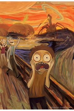 Artist Creates Mashups of Famous Art with Pop Culture and the Results are Marvel. - Artist Creates Mashups of Famous Art with Pop Culture and the Results are Marvellous – - Cartoon Cartoon, Rick I Morty, Rick Grimes, Rick And Morty Poster, Rick And Morty Quotes, Ricky And Morty, Illustrator, Le Cri, Psy Art