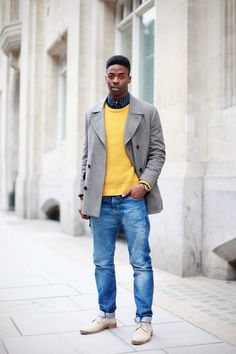 Layer a shirt, knit and a jacket for autumn