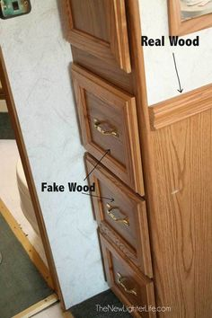 1/27/2015 YEA!!! I may have found the answer for our old cheap light oak Kitchen & Bathrooms!!!! Don't have to remove doors and hinges, and don't have to rent sprayer (I don't think) and under $200. Best yet, can do a little at a time, if needed. Will do some more research. Drawers-with-Fake-Wood-before-painting