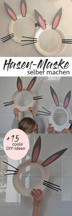 einfache Hasen-Maske für Ostern selbermachen! Aus Pappteller werden coole Props für Oster-Karten und Fotos! Einfach mit Kindern basteln.