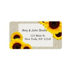Shop Rustic sunflower wedding address labels created by FancyMeWedding. Wedding Address Labels, Custom Address Labels, Text Color, How To Be Outgoing, Wedding Stationery, Color Schemes, Rustic, Prints, Sticker