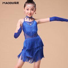 7 unids de las borlas de baile latino vestidos niños Samba faldas de baile latino de los bailes de salón niñas rojos bailan trajes vestido de baile latino para los niños(China (Mainland))