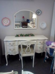 Shabby Chic French Provincial Desk, Vanity & Chair. $295.00, via Etsy.