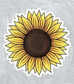'Yellow sunflower' Sticker by Mhea Tumblr Stickers, Cool Stickers, Printable Stickers, Sunflower Drawing, Sunflower Stencil, Homemade Stickers, Cute Car Accessories, Yellow Sunflower, Cute Cars