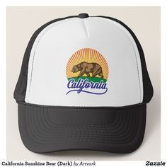 California Sunshine Bear (Dark) Trucker Hat: Make a lasting impression with this sunshine-loving grizzly bear California logo, available on hats, T-shirts, tank tops and more at http://www.zazzle.com/artvark?rf=238325020930392031, where you'll find additional dazzling #CaliTreasures