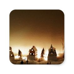 Foggy Christmas Town Square Sticker