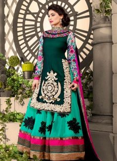 Turquoise & Green designer anarkali churidar suit with jacket