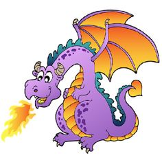 dragon clipart free | Funny Dragons With Flames Cartoon Clip Art Images