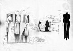 Fashion Sketchbook with monochrome fashion design drawings // Thomas Tait fashion journal… Fashion designers Textiles Sketchbook, Fashion Sketchbook, Fashion Design Portfolio, Fashion Design Drawings, Fashion Illustration Sketches, Fashion Sketches, Illustrations, Student Fashion, School Fashion
