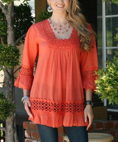 Another great find on #zulily! Rust Crochet Bell-Sleeve Tunic #zulilyfinds