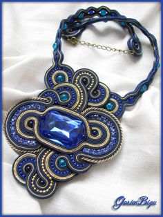 Sapphire Necklace soutache by GosiaBizu.deviantart.com on @deviantART
