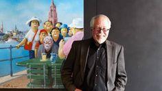 Frankfurt hat Glück: Für das Caricatura Museum hat Gerhard Glück sich in die Stadtansicht gemalt.