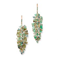 Made to order. Please allow weeks for shipping.Inspired by the shape of a tropical leaf, these glamorous drop earrings were designed with couture-like. Late Summer Weddings, Leaf Earrings, Jade Earrings, Blue Tourmaline, Gems Jewelry, Jewellery, Tropical Leaves, The Hamptons, Jewelry Design