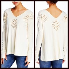 "BOHO TUNIC Embroidered Cutout Pullover Tee NEW WITH TAGS Retail: $65 Vintage Havana Tunic Eyelet Cutout Pullover Tee  * A flowy & relaxed silhouette  * Incredibly soft, stretch-to-fit fabric  * V-neck, long sleeves w/thumb holes, & eyelet cutout detail  * About 28"" long  * A relaxed fit, side slits, & textured construction  Fabric: Polyester-Spandex blend  Color: Ivory  No Trades ✅Offers Considered*/Bundle Discounts✅ *Please use the 'offer' button to submit an offer. Vintage Havana Tops…"
