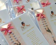 Lace Baptism Favor Cards with angel by CarolynParraDesigns on Etsy