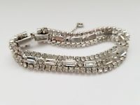 """Vintage Clear Rhinestone Silvertone 7"""" Bracelet Unsigned Safety Chain Box Clasp"""