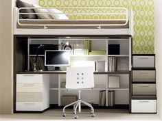 Small Bedroom Design With Solid Wood Loft Bed In White Finished Havinf Office Desk With Dresser And Bookcase Built In Storage Stair. Marvelous Adult Loft Bed With Desk For Saving Space Interior Más Bunk Bed Designs, Small Bedroom Designs, Small Room Design, Small Room Bedroom, Bedroom Loft, Trendy Bedroom, Bedroom Storage, Storage Stairs, Kids Bedroom