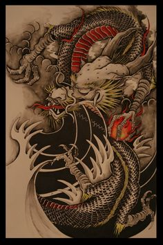 Not so much a fan of this style of finger waves but the simplicity and negative space definitely brings out the complexity of detail in the dragon. The dragon itself is a perfect representation of traditional Japanese IMO. Really dig this over all image Chinese Tattoo Designs, Dragon Tattoo Designs, Art Chinois, Japanese Dragon Tattoos, Bild Tattoos, Traditional Japanese Tattoos, Asian Tattoos, Japan Tattoo, Oriental Tattoo