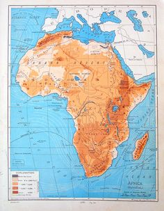 Physical map of africa deserts plateaus rivers etc africa old antique map 1901 physical map of africa from world atlas 1200 via etsy gumiabroncs Images