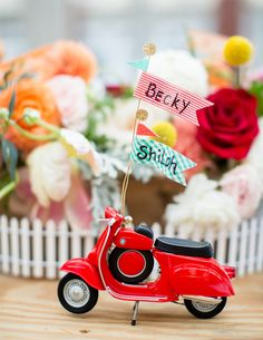 Event Design by French Knot Studios | Savannah, Georgia | Preppy Charm Engagement Party | Photo by Izzy Hudgins | Vespa placecard