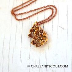 Honeycomb Necklace Beehive Necklace Golden by ChaseAndScoutDesign