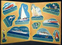 24 Cut-Out Boats. Saalfield Publishing Company #2205, 1937. Large stiff paper stapled book. 6 pages of uncut boats of various kinds, lighthouses, buoys, wheels, and people in boats. All cut-outs contain text at the bottom explaining the picture. Rare to find an uncut edition.    Light creasing and folding to covers. Some light spots and surface scratches to covers. Wear and rubbing along spine with a 2 tear at spine bottom.    Book size: 13  x 10 1/2  (33.02 cm. X 26.67 cm.)    Shipping...