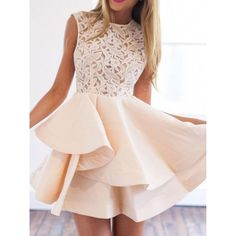 Shop With Zipper Blush Lace Insert Flare Apricot Dress online. SheIn offers With Zipper Blush Lace Insert Flare Apricot Dress & more to fit your fashionable needs. Cute Prom Dresses, Dresses Short, Prom Dresses 2018, Pretty Dresses, Beautiful Dresses, Summer Dresses, Dress Prom, Dresses Dresses, Sleeveless Dresses