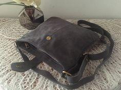 Taupe grey nubuck leather crossbody bag, Soft nubuck leather, soft grey color, Women purse, Shoulder handbag, Adjustable strip