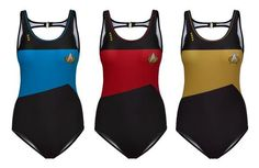 Think Geek Introduces Star Trek Swimwear, Perfect For Your Trip to Risa 1 Piece Swimsuit, Swimsuit Cover, Star Trek Merchandise, Racerback Swimsuit, Geek Fashion, Fashion Ideas, Outdoor Apparel, Geek Chic, Mode Inspiration