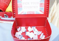 "Fantastic Olympic Themed Party Ideas- LOVE the ""pick your country"" part!"