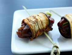 eggplant bacon wrapped dates //choosing raw