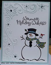 """Christmas card kit stampin up """"frosty"""" snowman, snowflakes, handmade - christmas dekoration Stamped Christmas Cards, Homemade Christmas Cards, Christmas Cards To Make, Christmas Greeting Cards, Homemade Cards, Handmade Christmas, Christmas Decorations, Christmas Tree, Holiday Cards"""
