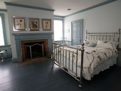 Paint the moldings and doors. Maybe not blue like this, but a pretty neutral like a pale gray