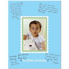 1st Birthday Boy Autograph Photo Mat