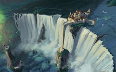 ArtStation - Waterfall Castle, Dejan Mijatovic