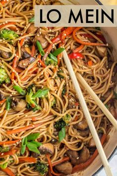 Silky lo mein noodles tossed with vegetables in a sweet and spicy soy sauce. Delicious Chinese lo mein recipe ready in just 15 minutes. #valentinascorner #lomein #noodles #dinner #vegetables #vegetablelomein Easy Chinese Recipes, Asian Recipes, Healthy Recipes, Ethnic Recipes, Delicious Recipes, Oriental Recipes, Meatless Recipes, Japanese Recipes, Vegetarian Food