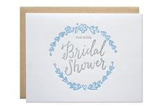 A beautiful bridal shower greeting that she will treasure. Letterpress printed card with calligraphy by Sarah Parrott, head designer/printer behind Parrott Design Studio. size :: A2 {4.25 x 5.5} method :: letterpress printed in Sebago, Maine paper ::100% cotton white paper with a kraft envelope. packaging :: each card is packaged in a cello bag and mailed in a no-bend mailer.