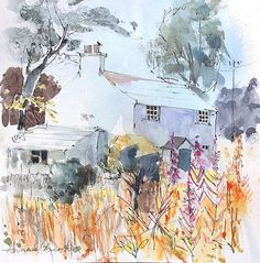Signed Original Landscape Watercolour -Cottage in Summer- by Annabel Burton Landscape Watercolour, Pen And Watercolor, Holy Mary, Watercolours, Sketchbooks, Cottages, Artworks, Contemporary Art, Buildings