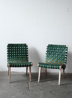 Woven Leather Chairs with a West Coast Edge by Julie Carlson