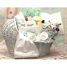 Welcome Baby Girl Bassinet - Pink, This white wicker baby bassinet gift set is definitely a unique baby gift basket. This is a keepsake that will last long after baby grows up. Filled with special firsts like a baby lamb picture fram. Baby Hamper, Baby Shower Gift Basket, Baby Baskets, Baby Shower Gifts, Basket Gift, Baby Girl Gifts, New Baby Gifts, Homemade Gifts, Diy Gifts