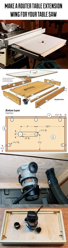 Customize your table saw by replacing one wing with this convenient and floor-saving router table. It features a unique internal dust collection system for cleaner operation.