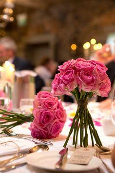Dark Pink Rose Wedding Bouquets