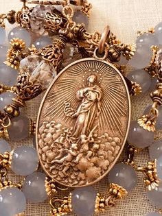 ROSARY THE ASSUMPTION OF MARY AQUAMARINE STONES BRONZE ANTIQUE FILIGREE DESIGN