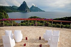 Wedding Set Up at the Celestial Terrace overlooking St Lucia's word famous Pitons