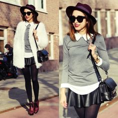 Chicwish Fur Coat, Proenza Schouler Ps11 Bag, Celine Sunglasses, Romwe Collar Blouse, Merrin & Gussy Statement Ring