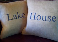 Burlap Pillow Cover Set / Lake House / 16 x 16 / Lake House Decor. $54.00, via Etsy.