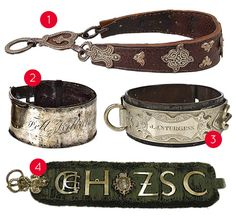 historic dog collars- 1. Dog collar made of leather, silver and iron. From The British Museum | 2. Victorian dog collar 3. metal and leather collar, British, 19th century. | 4. Early 17th-century collar for hunting dog. From The Metropolitan Museum of Art