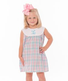 Look at this Aqua & Pink Plaid Initial Yoke Dress - Infant, Toddler & Girls on #zulily today!