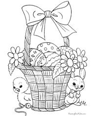 Bunny And Chick With Basket Coloring Page